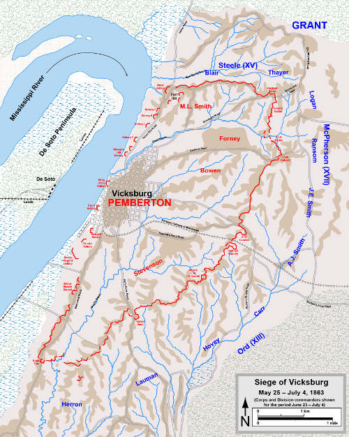 Siege of Vicksburg, map courtesy of Hal Jespersen, cwmaps.com