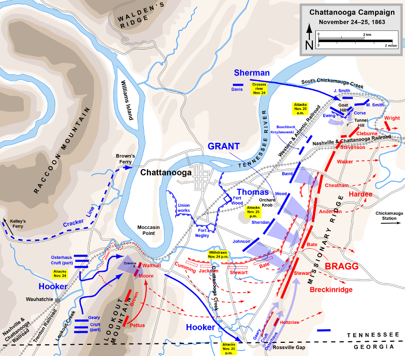 Chattanooga campaign (map courtesy of Hal Jespersen at cwmaps.com)